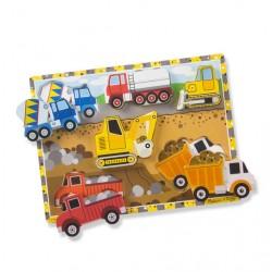 Przestrzenne drewniane duże puzzle, pojazdy Melissa & Doug