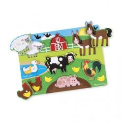 Przestrzenne drewniane puzzle - zwierzęta na farmie Melissa & Doug